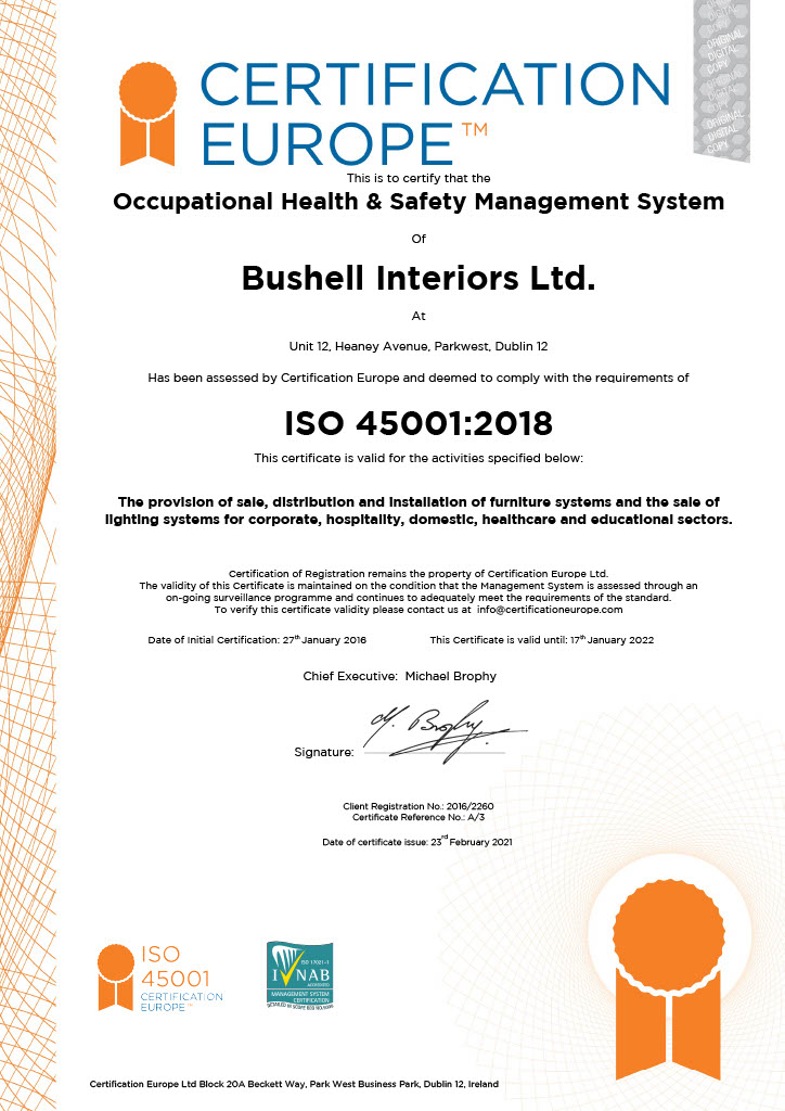 ISO45001: Occupational Health & Safety Management System